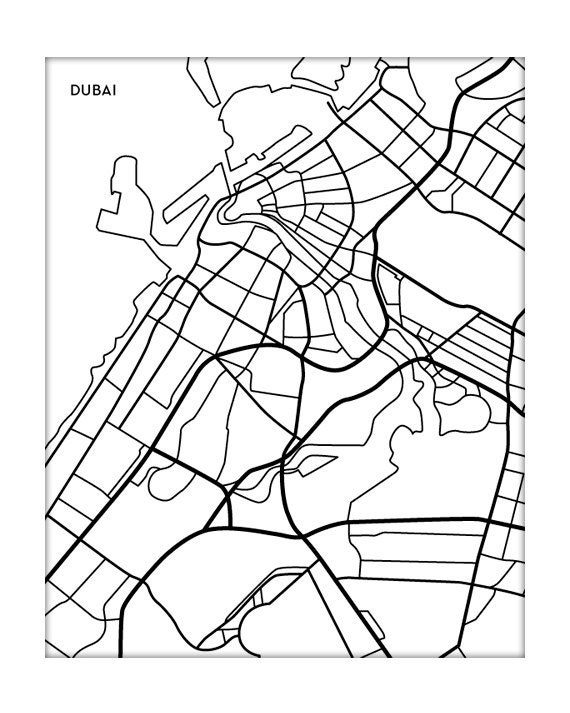 Art Line Uae : Dubai city map art print uae modern line by