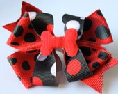 Bow - Red black and white dots Very cute