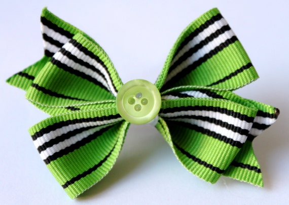Bow - Green and Navy Bow