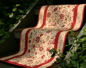 Quilted Table Runner  - Lumiere de Noel Table Runner in Antique Red, Tan and Pearl.
