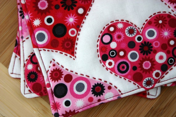 Fabric Coasters - Handstitched Retro Heart Fabric Coasters - Set of 4