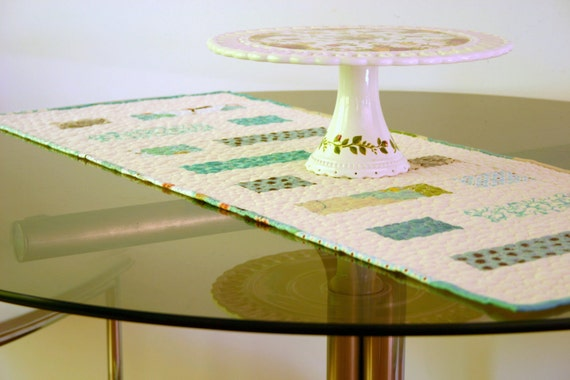 Table Runner, Teal Dreaming II Quilted Table Runner