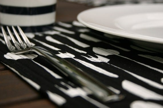 Quilted  Table Placemats Flatware in Black - Set of 4