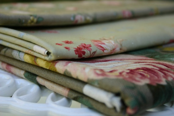 Destash Clearance 3 Yards Mixed Quilting Fabrics - Olive/Sage Green Floral
