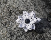40% off entire shop use coupon code closeout at checkout. The Arianna - white with black polka dots handmade flower hair clip