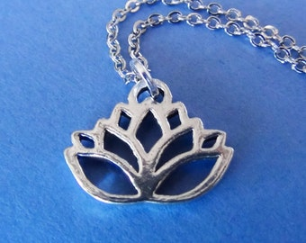 LOTUS FLOWER Necklace - Pewter Charm on a FREE Plated Chain