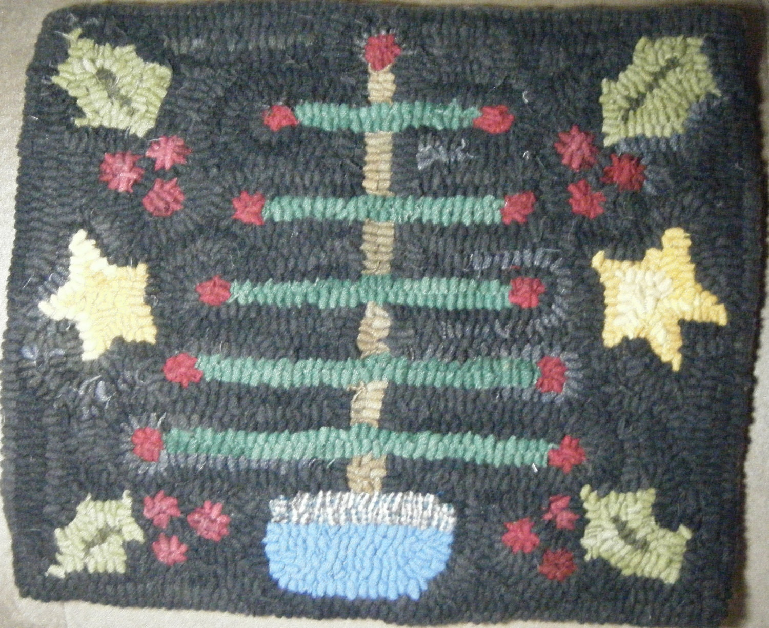 Primitive Feather Tree Christmas Hooked Rug By RIWoolies