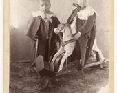 Boys Rocking Horse Toys cabinet card photograph vintage antique 19th century 1800s