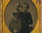 Siblings Beautiful Portrait Ruby Ambrotype 19th century Photograph antique 1800s