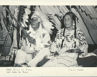Chief Wales in Water Native American RPPC Glacier Studio Real Photo Post Card old photo