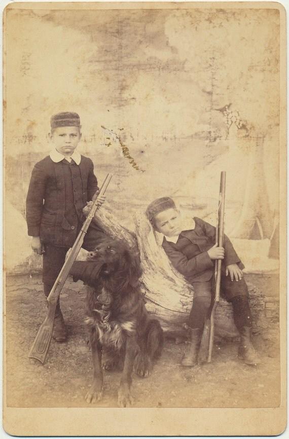 Little Soldier Boys Dog rifles cabinet card