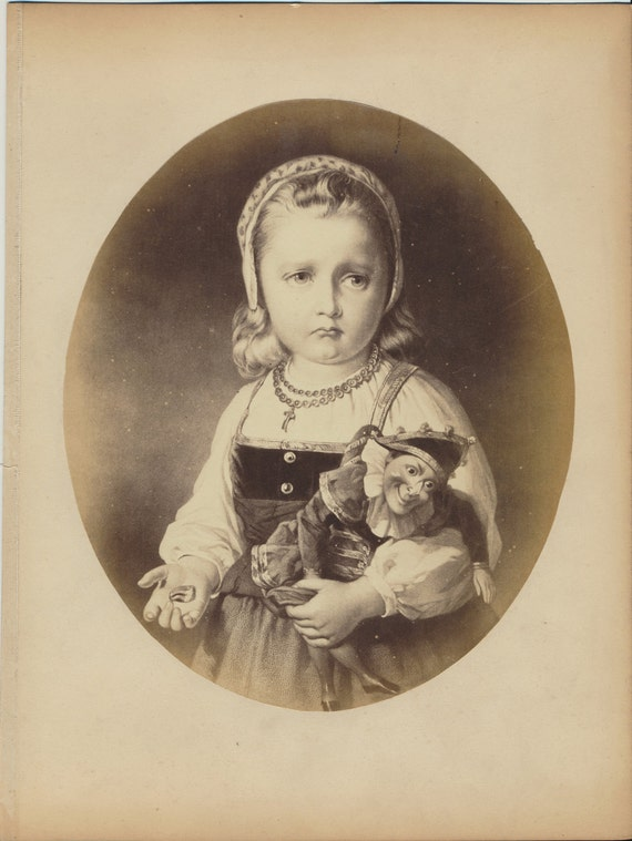 Frowning Girl PUNCH and JUDY DOLL Albumen Photograph of Painting
