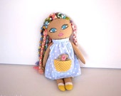 Boho Big-eyed Rag Doll , Cloth doll / Rag doll /plush doll / rusteam / Child friendly doll / Felt /Cotton