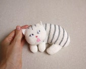 Cat Stuffed Toy ,  collectables cats Plush kitty cat , knitted toys, softie, striped , white