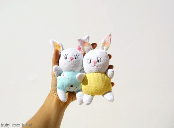 Pastel  Easter Bunny / set of 2 / Softie /  Soft baby Toy / Rabbit / Spring / White  , yellow ,easter favor