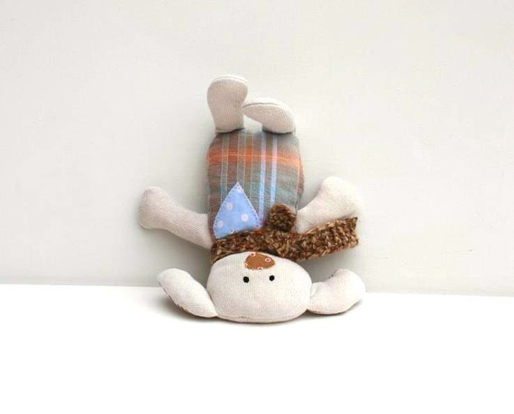 Plush Dog  Softie Stuffed Toy  Pocket pal light gray grey  ,minimalist , neutral , natural , eco friendly