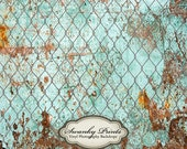5ft x 6ft Vinyl Photography Backdrop / Rusty Wall with Chain Link