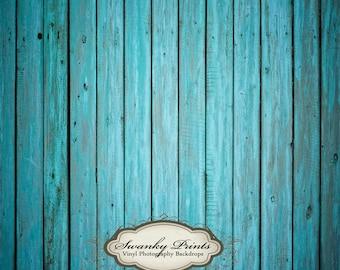 2ft x 2ft Vinyl Photography Backdrop Floordrop / Bright Blue Wood