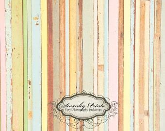 6ft x 5ft Vintage Colorful Wood / Vinyl Photography Backdrop