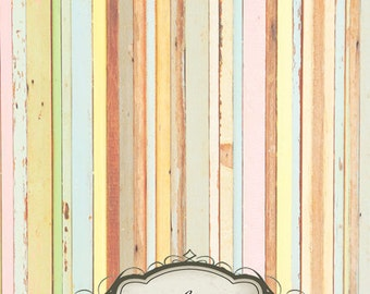 5ft x 7ft Vintage Colorful Wood / Vinyl Photography Backdrop