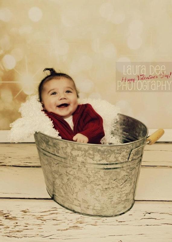 4' x 4'  GOLD GLITTER HOLIDAY Vinyl Backdrop for Children, Babies Bokeh