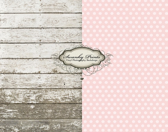 TRAVEL SIZE Two Vinyl Photography 3.5ft x 3.5ft COMBO (backdrop and floordrop) Newborn Pink Polka Dot and Barn Wood