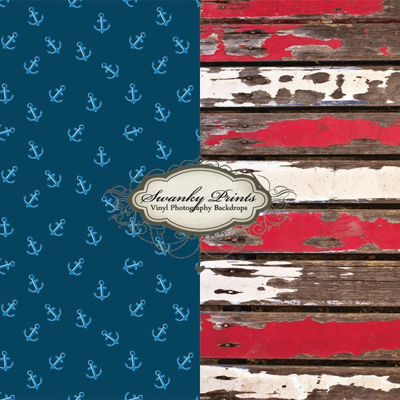 COMBO 4ft x 4ft Vinyl Photography Backdrops / Red White Peeling Wood and Blue Anchors TWO BACKDROPS