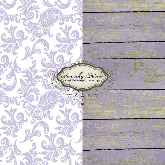 COMBO 4ft x 4ft Vinyl Photography Backdrops / Light Purple Damask and Purple Peeling Wood TWO BACKDROPS