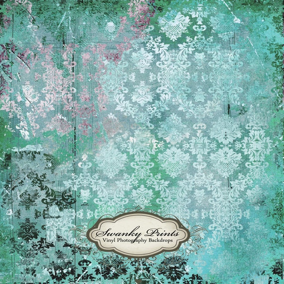 BEST PRICE on Etsy  5ft x 5ft Vinyl Photography Backdrop Teal Grungy Damask LARGE