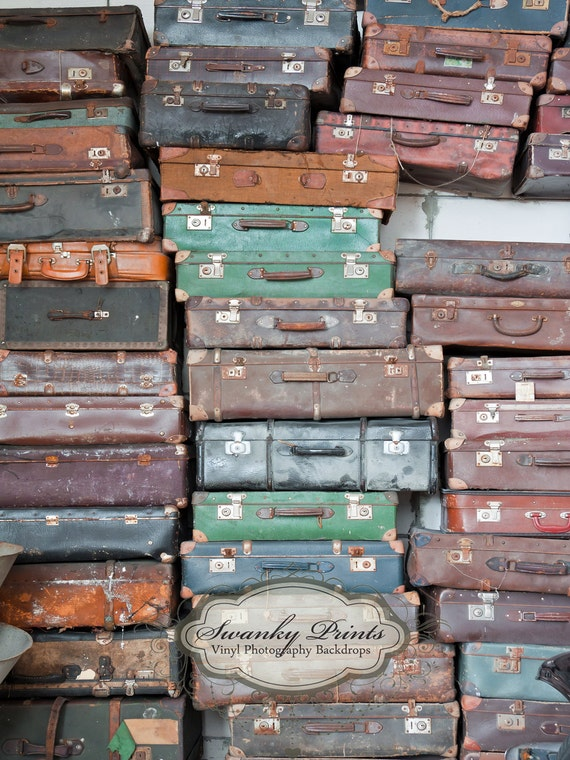 NEW ITEM 6ft x 8ft Vinyl Photography Backdrop / Old Vintage Suitcases