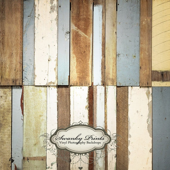 5ft x 5ft Vinyl Photography Backdrop / Floordrop / Blue Colorful Painted Wood