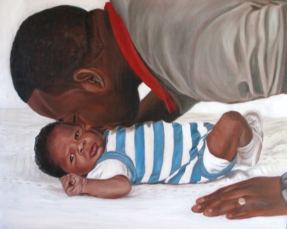 Custom Portrait Oil Painting Father and Son New Dad - Great Gift for Dad -11x14