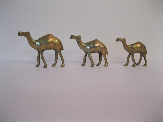 Three Solid Brass Camel Figurines