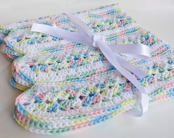 Baby Blanket Crochet Afghan Set Baby Shower Gift Pink Blue Yellow Green Purple White Rainbow