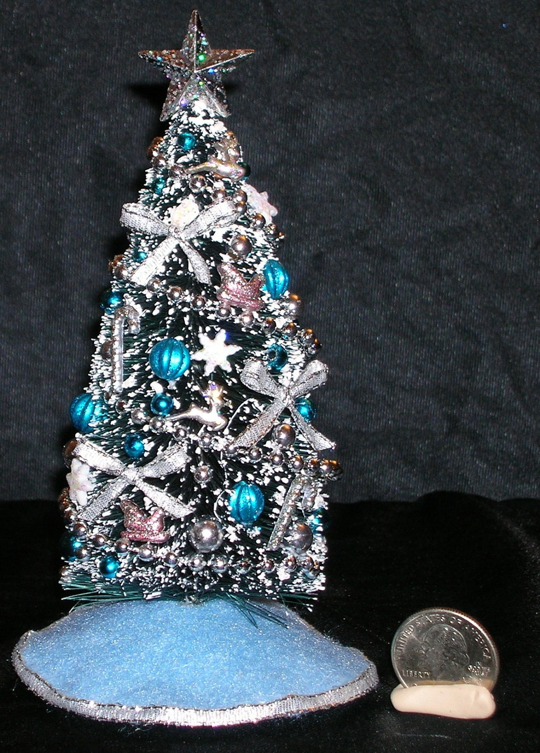 Six Inch Miniature Christmas Tree With Blue Decorations