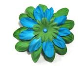 Hair flower clip medium rockabilly pinup green blue BUY 1 GET 1 FREE