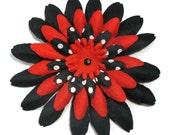 Hair flower clip large rockabilly burlesque pinup VLV