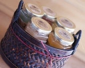 Pure Raw Honey Tea, Gift set of 5 in brown gift basket with handles. Choose your favorite flavors. 8 oz.