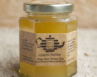 LEMON THYME flavored Pure Raw Honey Tea 8 oz