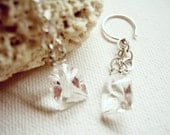 Silver Chain Crystal Quartz Earrings