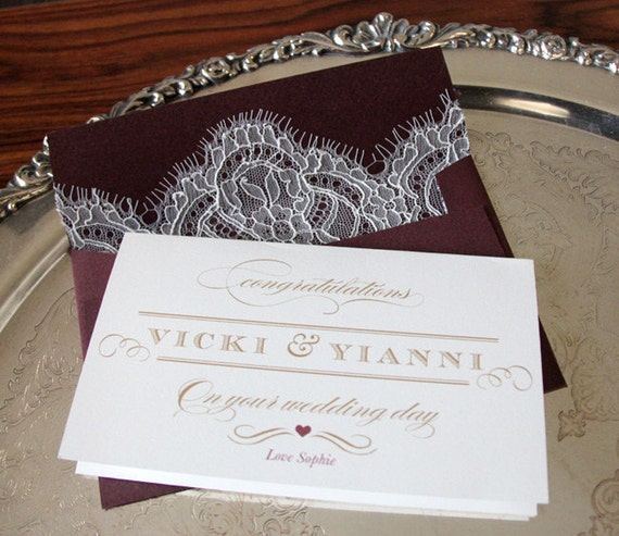 Lace Lined Envelope & Personalized Custom Wedding Card