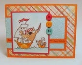 Owl and Mice Pirates Handstamped Birthday Card
