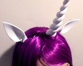 My Little Pony, Rarity - Custom Cosplay Wig  for MLP: Friendship is Magic - Dark Purple Wig with Horn and Ears