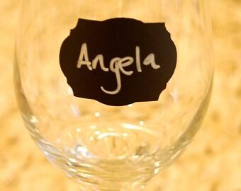 Fancy oval chalkboard labels - Small -  wine glass size - set of 12