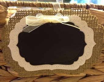 Burlap Chalkboard Tags / Labels - Fancy - Small size - Set of 6 - wedding, place card, gift tag, name tag