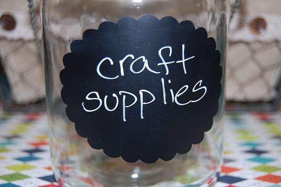 Chalkboard vinyl label - Oval scallop - Extra Large size - set of 6