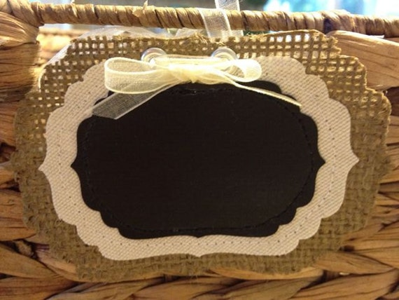 Burlap Chalkboard Tags / Labels - Fancy - Small size - Set of 4- wedding, place card, gift tag, name tag