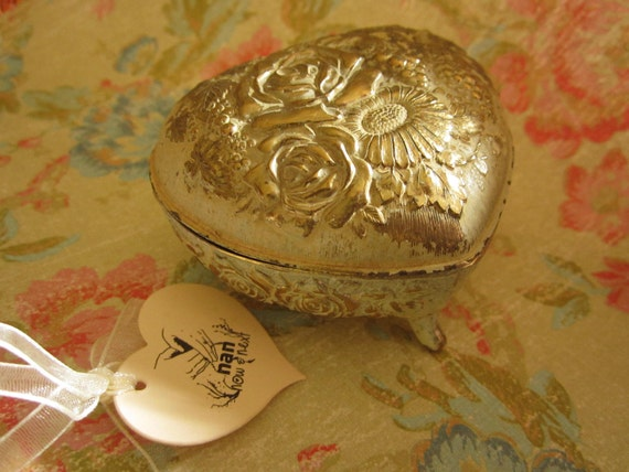Vintage Heart Shaped Floral Textured Metal Jewelry Box with Red Cloth Interior
