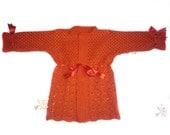100% Handmade Red Knitted Pure Wool Children Sweater