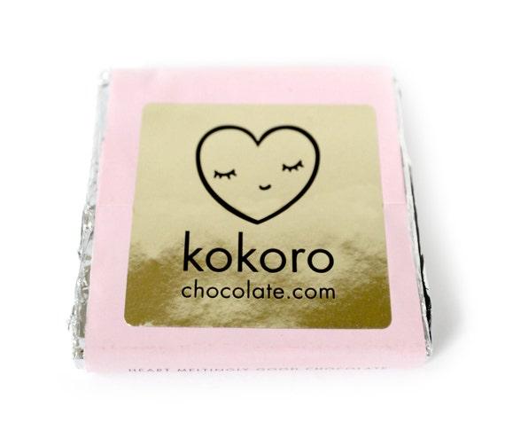 Japanese Cherry Blossom Sakura and Pure Origin Dark Chocolate handmade solid bar 70g 8cmx8cm